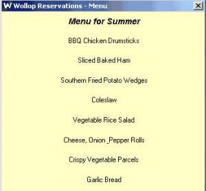 Reservation menu